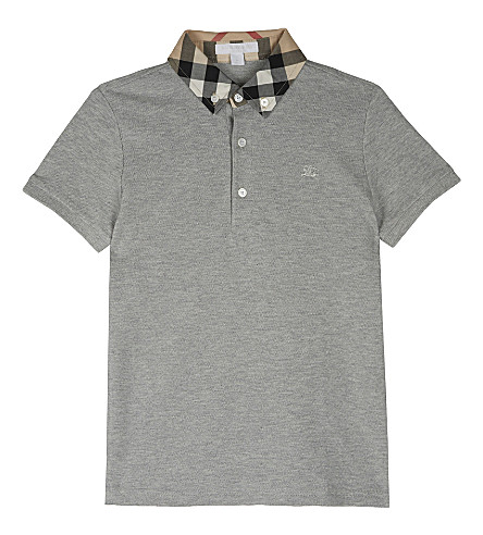 BURBERRY William cotton polo shirt 4-14 years (Pale+grey+melange