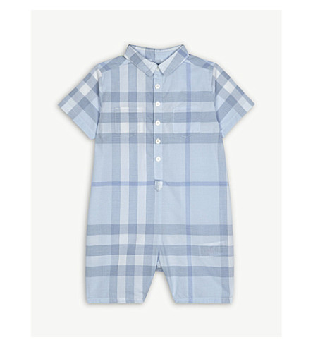 BURBERRY Kirk check cotton romper 3-24 months (Ice+blue