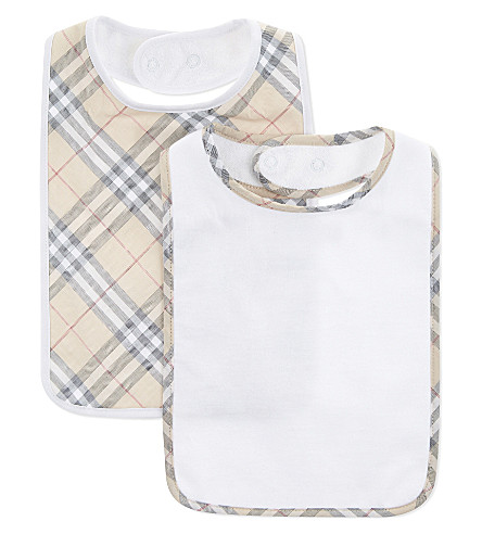 BURBERRY Core cotton bibs set of three (White