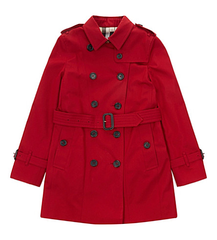 BURBERRY Sandringham cotton trench coat 4-14 years (Parade+red