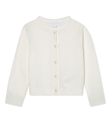 BURBERRY Mini Rheta cotton cardigan 6-36 months (White