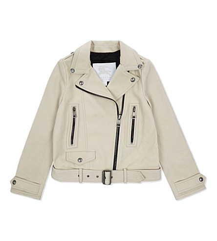 BURBERRY Patchford leather jacket 6-14 years (Stone
