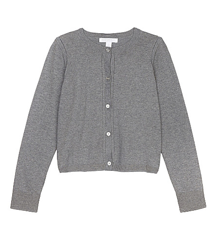 BURBERRY Rheta cotton cardigan 4-14 years (Pale+grey+melange