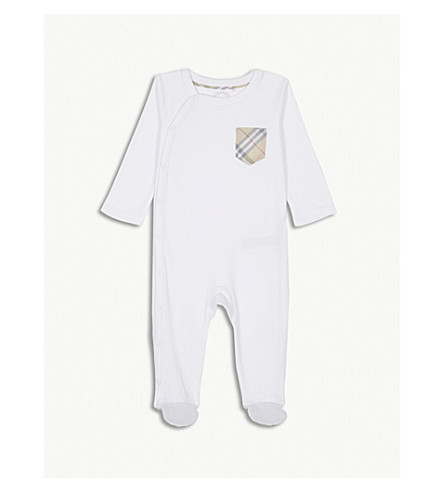 BURBERRY Check detail cotton baby grow 3-18 months (White