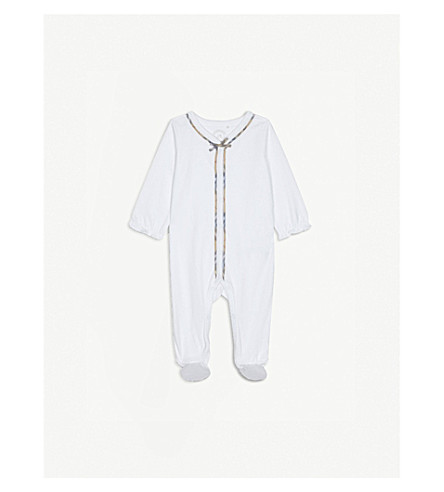 BURBERRY Jacey check trim cotton bodysuit 3-18 months (White