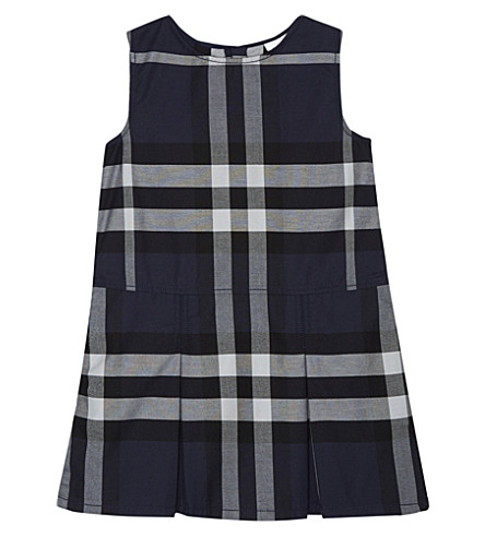 BURBERRY Dawny check cotton pinafore dress 4-14 years (Navy