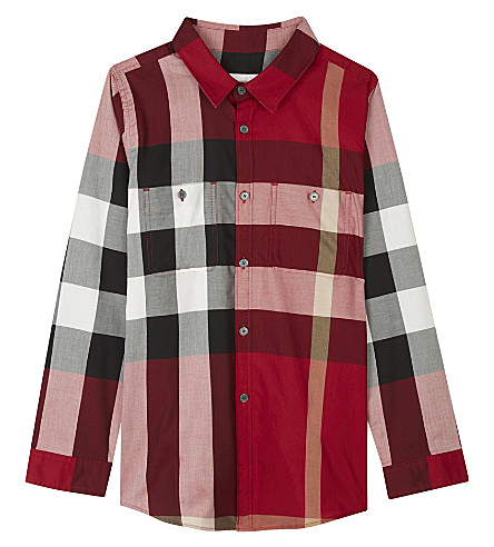 BURBERRY Camber checked cotton shirt 4-14 years (Parade+red