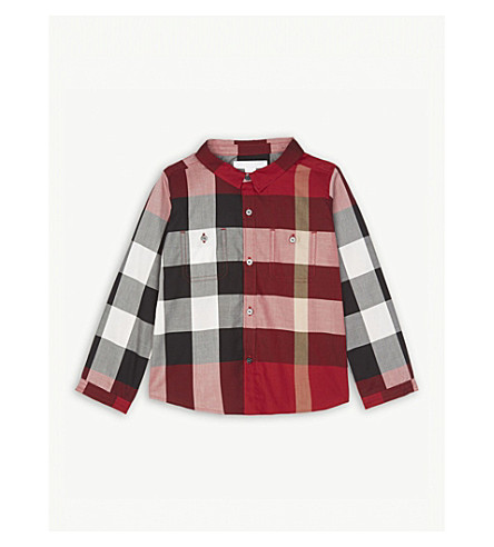 BURBERRY House check cotton shirt 6-36 months (Parade+red