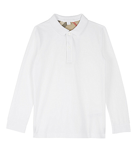 BURBERRY Mini cotton long-sleeved polo shirt 4-14 years (White