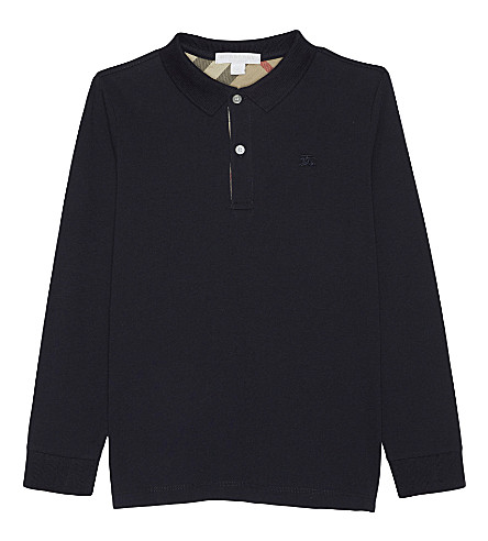 BURBERRY Long-sleeved cotton polo 4-14 years (True+navy