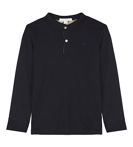 BURBERRY Cotton jersey polo shirt 4-14 years (True+navy