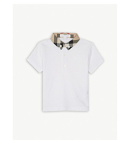 BURBERRY William house check cotton polo shirt 6-36 months (White