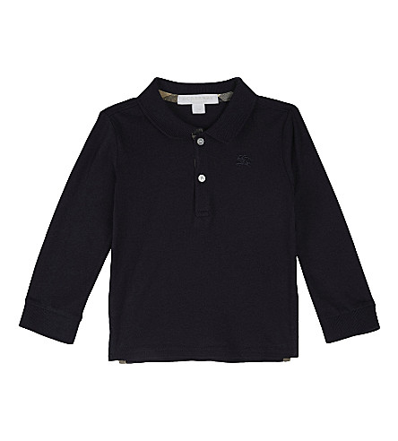 BURBERRY Palmer cotton polo shirt 6-36 months (True+navy