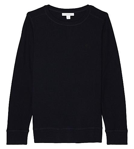 BURBERRY Franco check patch merino merino sweater 4-14 years (Navy