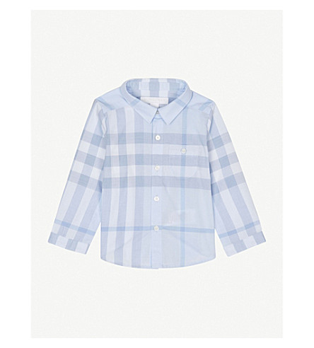 BURBERRY Washed check print cotton shirt 3-24 months (Ice+blue