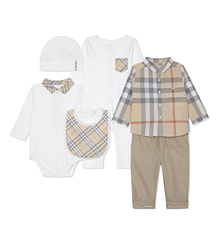 BURBERRY Cotton six-piece baby gift set 3-6 months (White