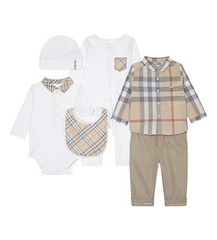 BURBERRY Maximilian six-piece cotton baby gift set 3-12 months (White