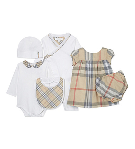 BURBERRY Maxime cotton six-piece baby gift set 3-6 months (White