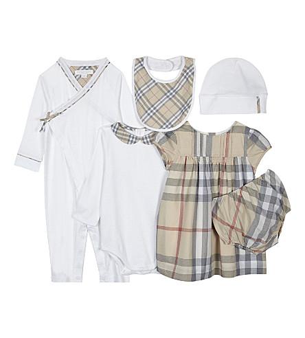 BURBERRY 马克西姆六件棉布婴儿礼品套装3-12 月 (白色