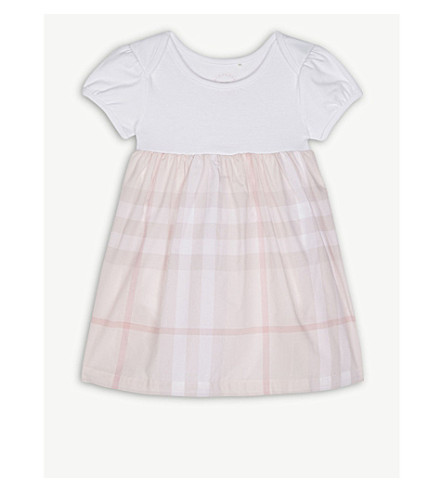 BURBERRY Cherrylina cotton check dress 3-24 months (Ice+pink