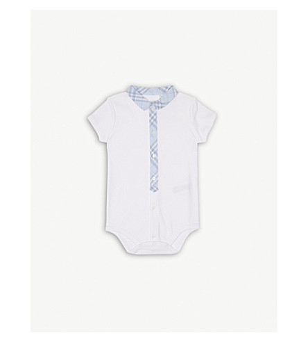 BURBERRY Tannar cotton bodysuit 3-24 months (Ice+blue