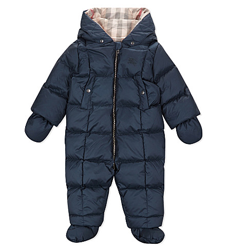 BURBERRY Skylar down padded snowsuit 3-24 months (Navy