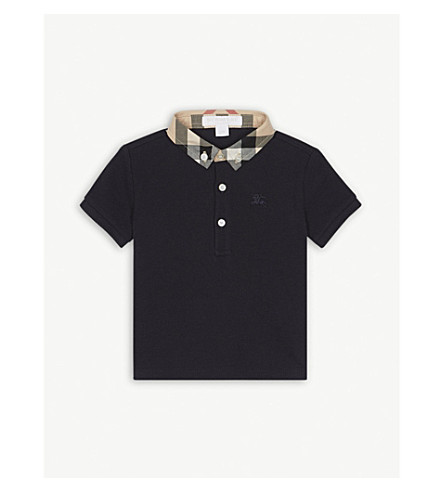BURBERRY Cotton-piqué polo shirt 6-36 months (True+navy