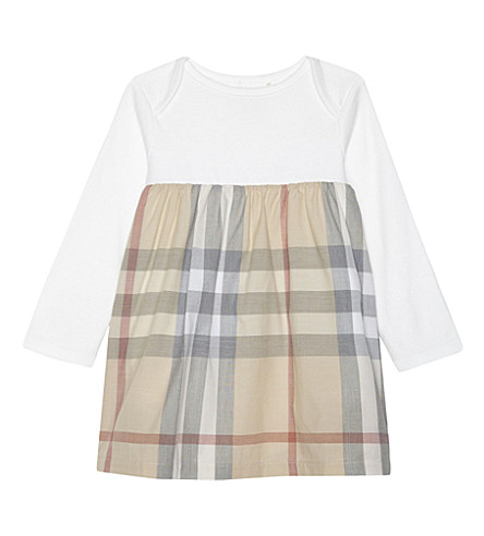 BURBERRY Cherrylina check cotton dress & gusset 3-24 months (Pale+stone