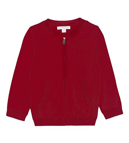 BURBERRY Mini jaxson cotton cardigan 6-36 months (Military+red