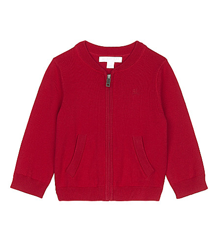 BURBERRY Jaxson zipped cotton cardigan 6-36 months (Militaryred