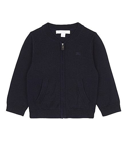 BURBERRY Jaxson check detail zip-through cardigan 6-36 months (Navy