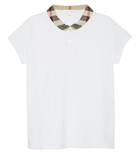 BURBERRY Zadie check collar cotton polo shirt 4-14 years (White