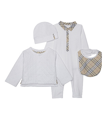 BURBERRY Zayden cotton four-piece baby set 1-6 months (White