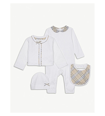 BURBERRY Zaria cotton four-piece baby set 1-6 years (White