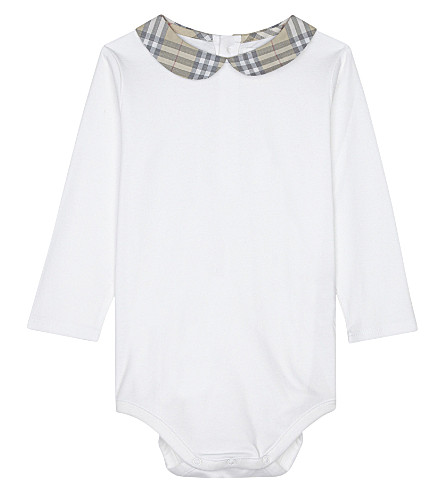 BURBERRY Izzy cotton shortall 3-24 months (Pale+stone
