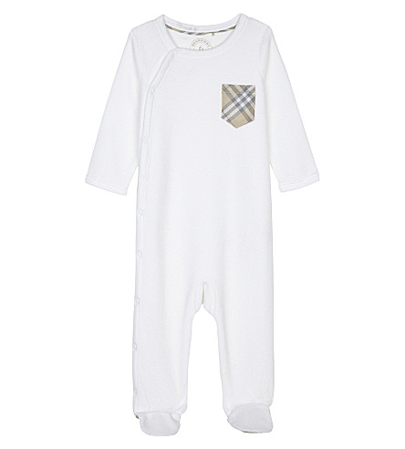 BURBERRY Jaydin cotton-blend baby-grow 1-6 months (White