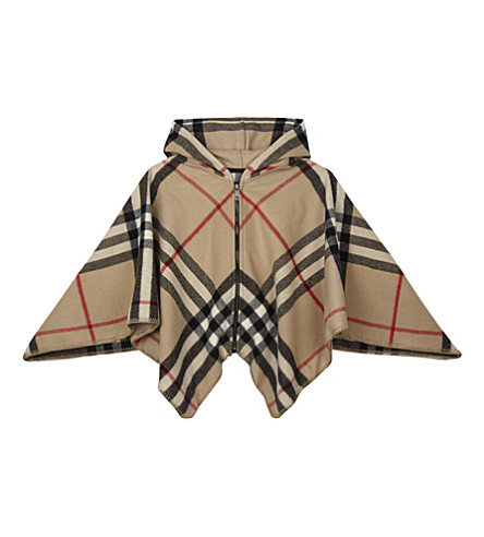 BURBERRY Wool-cashmere blend checked cape (New+classic