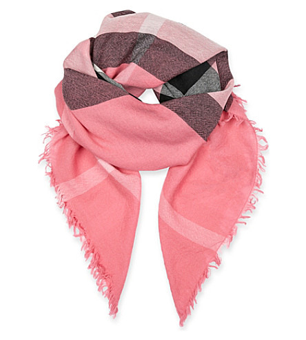 BURBERRY Check print wool scarf (Rose+pink