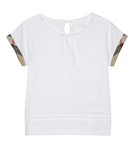 BURBERRY Giselle pleated cotton T-shirt 6-36 months (White