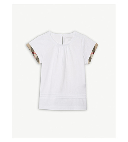 BURBERRY Giselle check detail cotton T-shirt 4-14 years (White