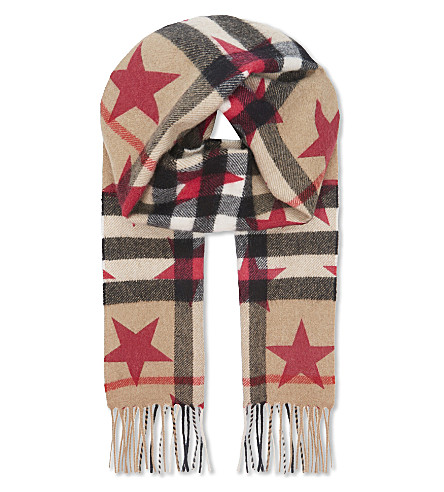 BURBERRY Star and check print cashmere scarf (Fuschia