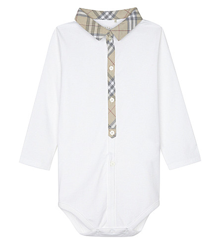 BURBERRY Tannar cotton shortall 3-18 months (White