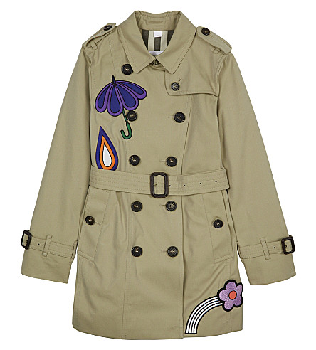 BURBERRY Sandringham badge trench coat 4-14 years (Honey