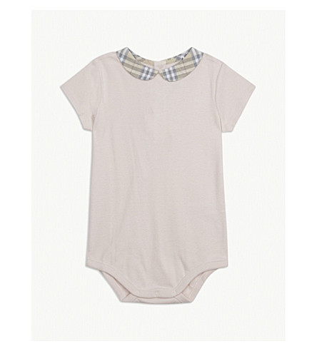 BURBERRY Izzy cotton baby-grow 3-24 months (Powder+pink