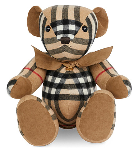 BURBERRY Checked cashmere Thomas bear (Camel+check