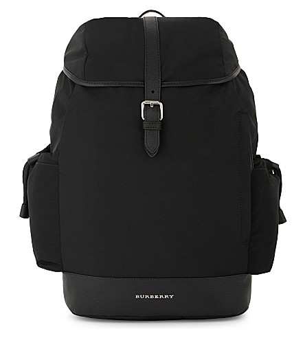 BURBERRY Watson leather trim baby changing rucksack (Black