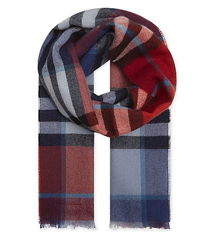 BURBERRY House check wool scarf (Br+ornge+rd/crnfl+bl