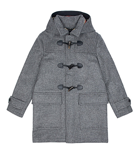 BURBERRY Burwood wool duffle coat 4-14 years (Mid+grey+melange