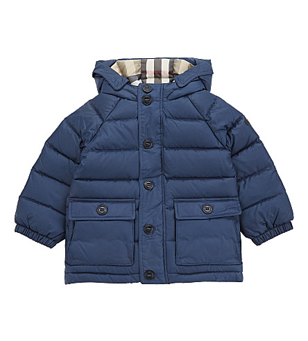 BURBERRY Lachlan hooded puffa jacket 12-36 months (Ink+blue