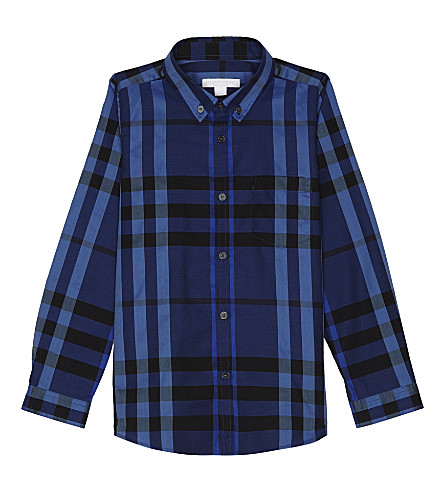 BURBERRY Fred check cotton shirt 4-14 years (Brilliant+blue